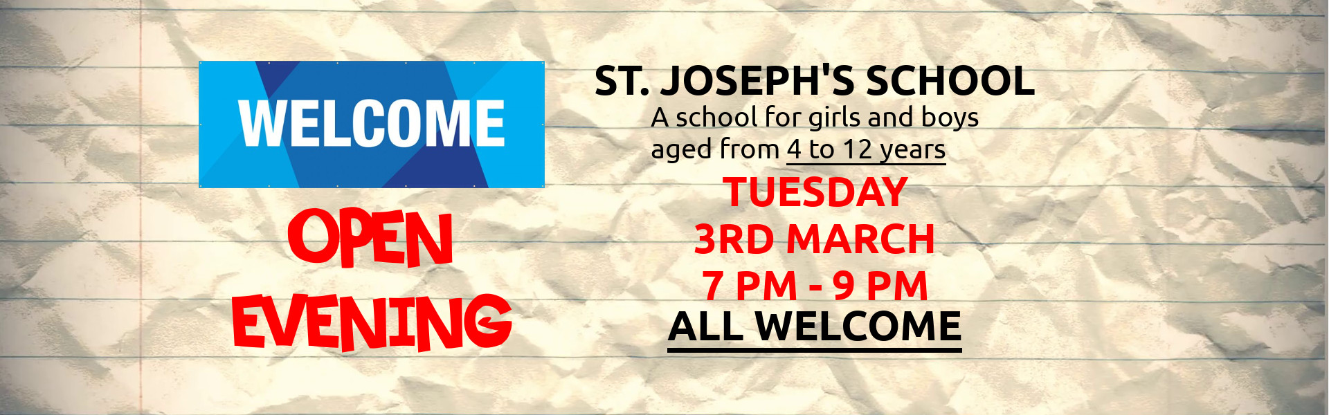 St. Joseph's Banner - Open Evening 2020